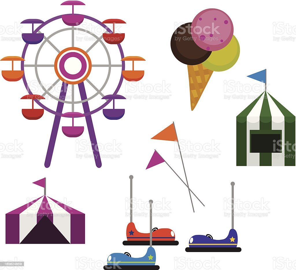 Cartoon collage of carnival activities like bumper cars vector art illustration