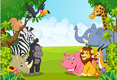 Cartoon collection animal in the jungle