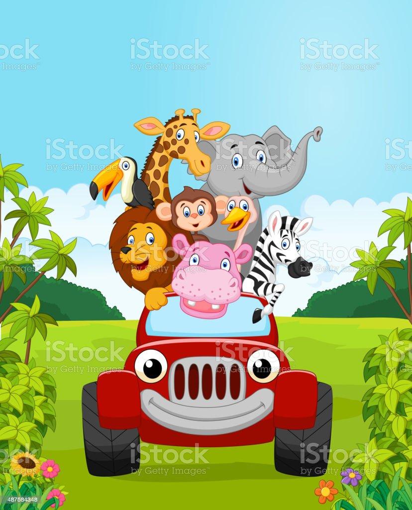 Comic Kollektion Tier Urlaub Mit Roten Wagen Stock Vektor Art Und
