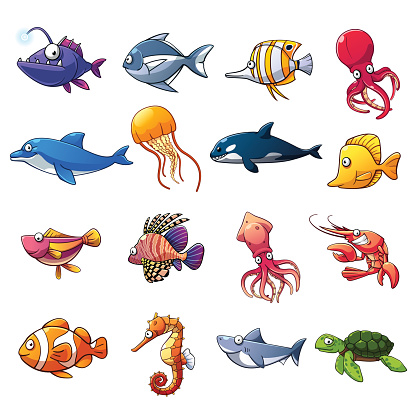 Cartoon collection of fish and sea animals