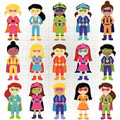 Collection of Diverse Group of Superhero Girls, matching boy superheroes in portfolio. No transparencies or gradients used. Large JPG included. Each element is individually grouped for easy editing.
