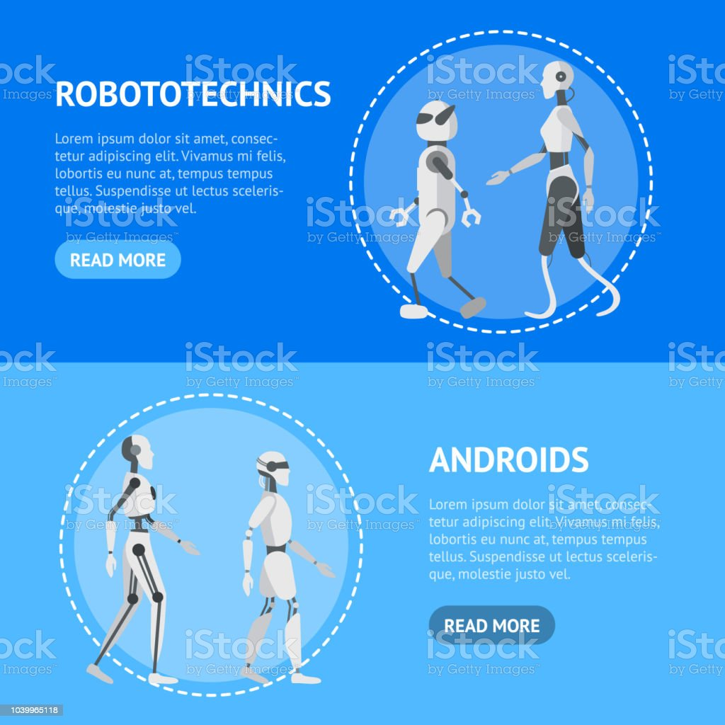 Cartoon Color Android Robots Banner Horizontal Set Vector Stock
