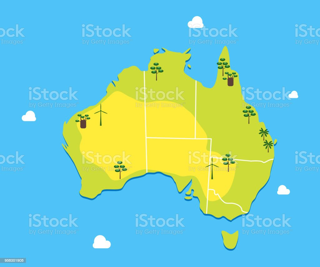 cartoon color australia continent concept travel vector stock vector