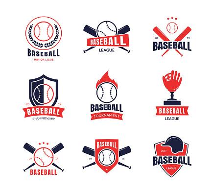 Cartoon Color Baseball Insignias Icon Set. Vector