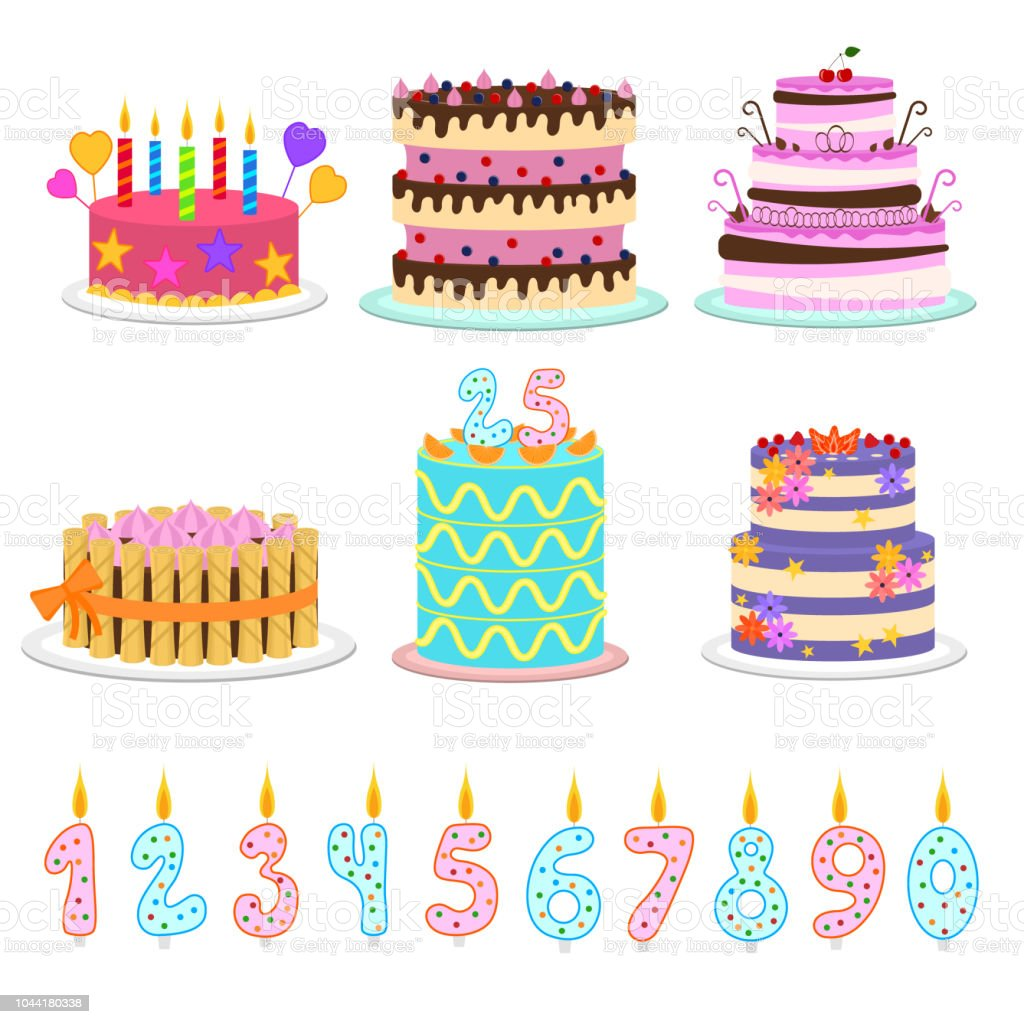 Wondrous Cartoon Color Birthday Cakes And Elements Icon Set Vector Stock Personalised Birthday Cards Cominlily Jamesorg