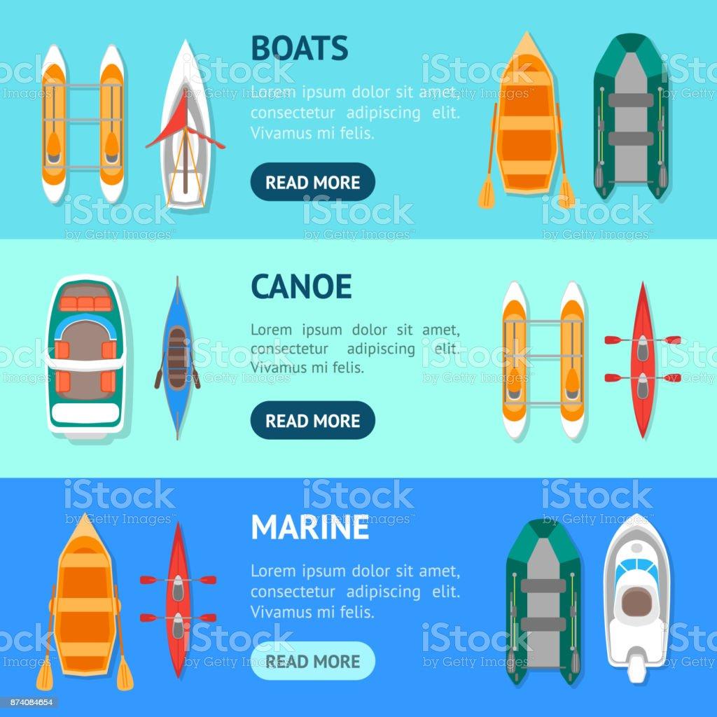 Cartoon Color Boats Banner Horizontal Set. Vector vector art illustration