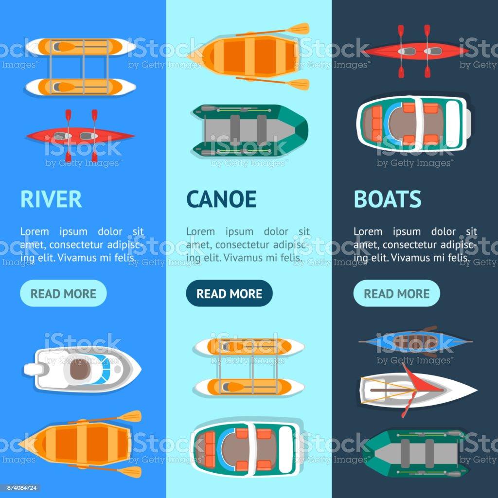 Cartoon Color Boats Banner Vecrtical Set. Vector vector art illustration