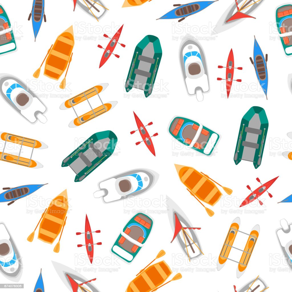 Cartoon Color Boats Top View Background Pattern. Vector vector art illustration