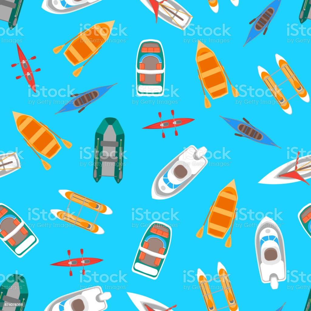 Cartoon Color Boats Top View. Vector vector art illustration