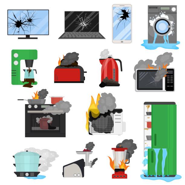 Best Broken Refrigerator Illustrations Royalty Free