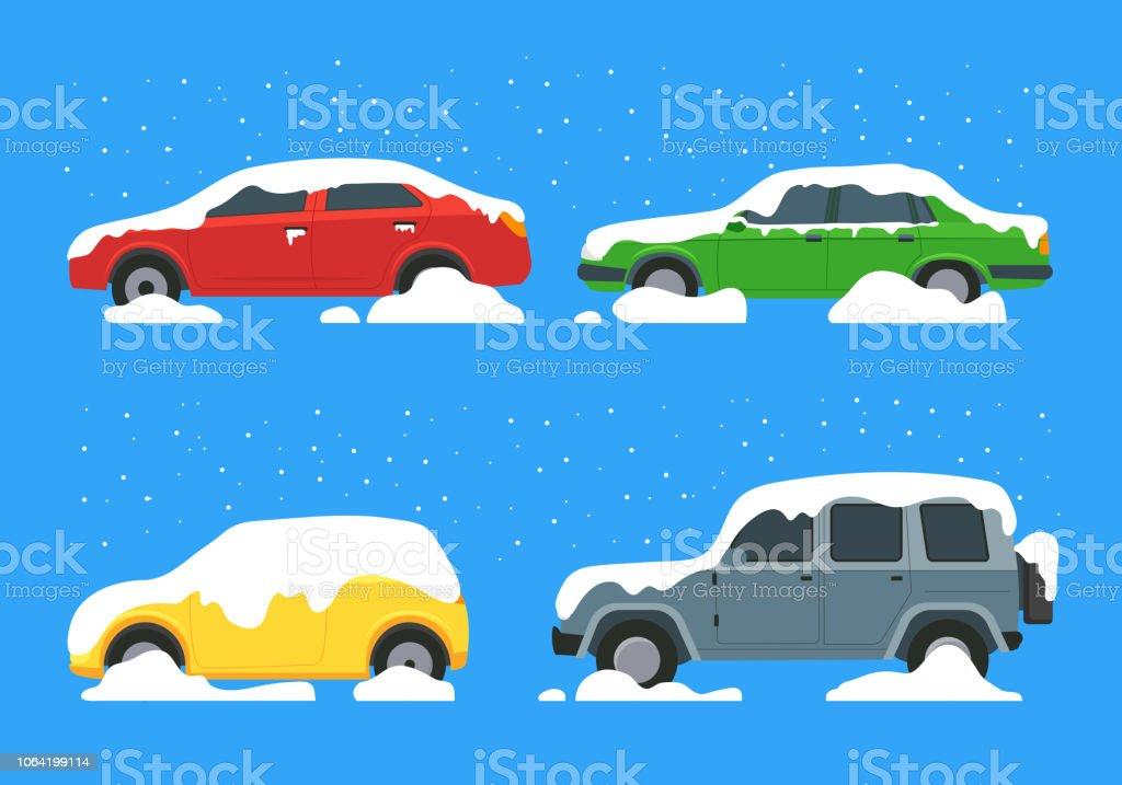漫画カラー車積雪アイコンを設定ベクトル はまるのベクターアート素材
