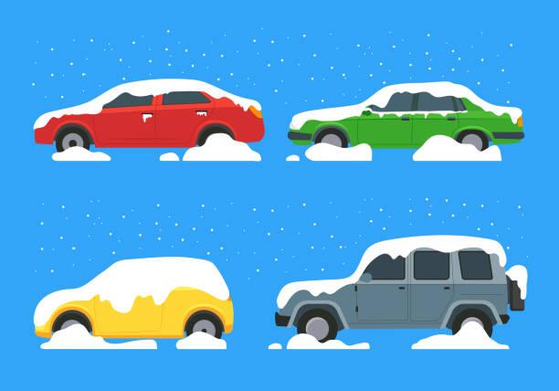 illustrazioni stock, clip art, cartoni animati e icone di tendenza di cartoon color cars covered snow icon set. vettore - car chill