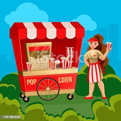 Cartoon Color Character Person Woman Sells Pop Corn Landscape Scene Concept Flat Design Style. Vector illustration of Popcorn
