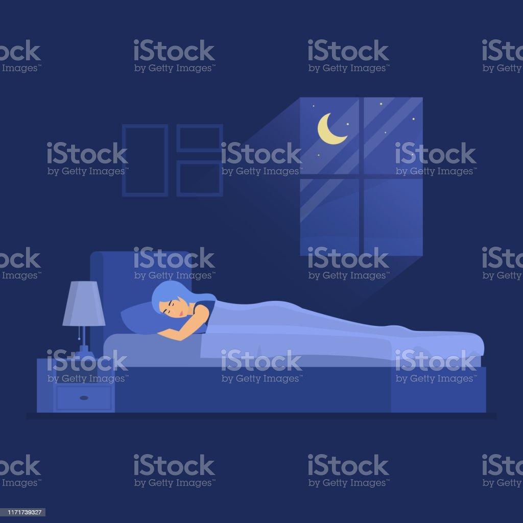https www istockphoto com fr vectoriel femme de caract c3 a8re de couleur de dessin anim c3 a9 dormant dans le concept de chambre gm1171739327 324740010