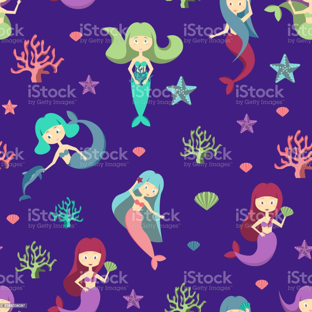 Cartoon Color Characters Mermaids Girls Seamless Pattern Background Vector Stock Illustration Download Image Now Istock