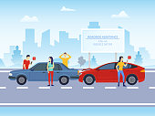 Cartoon Color Characters People and Car Crash on a Road Concept Flat Design City Scene. Vector illustration