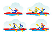 Cartoon Color Characters People and Extreme Water Sport Concept. Vector