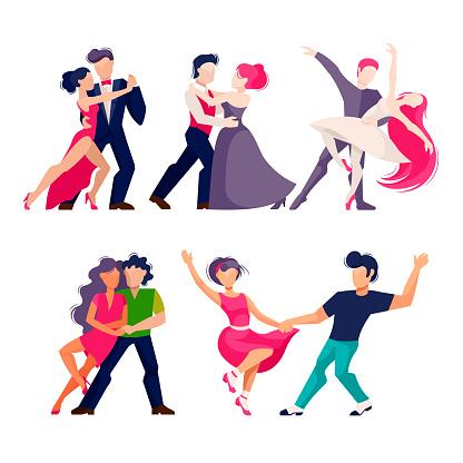 Cartoon Color Characters People Dancing Concept. Vector