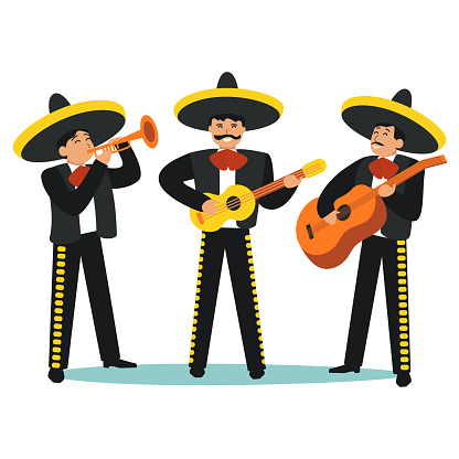 Cartoon Color Characters People Mariachi Band Set. Vector