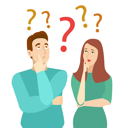 Cartoon Color Characters Persons Thinking Couple Concept. Vector