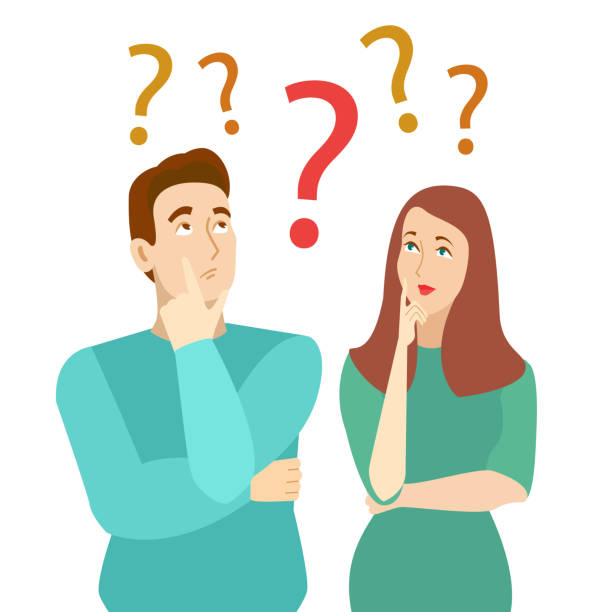 Cartoon Color Characters Persons Thinking Couple Concept. Vector Cartoon Color Characters Persons Suffer Thinking Couple Concept Flat Design. Vector illustration of Family Solution Problem confused face stock illustrations