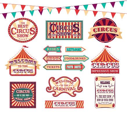 Cartoon Color Circus Show Labels Set. Vector