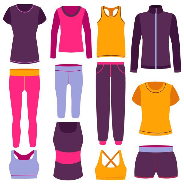 stockillustraties, clipart, cartoons en iconen met cartoon kleur kleding fitness icon set. vector - sportkleding