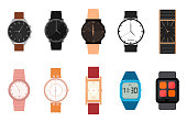 Cartoon Color Different Watches Icon Set Wristwatch Classic Accessory Expensive Luxury Concept for Men and Women. Vector illustration of Icons