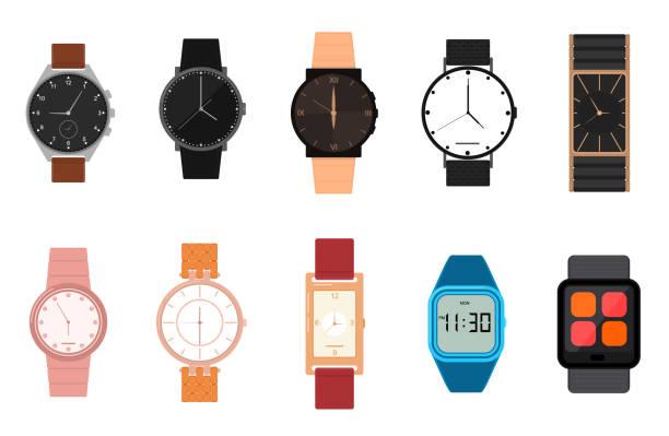bildbanksillustrationer, clip art samt tecknat material och ikoner med tecknad färg olika klockor ikonuppsättning. vektor - armbandsur