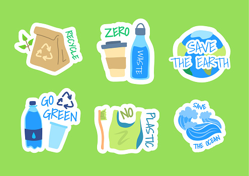Cartoon Color Ecology Protecting Label Badge Sign Set Concept Flat Design Style. Vector