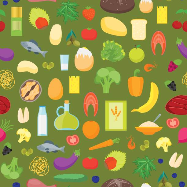Cartoon Color Healthy Food Background Pattern On A Green Vector Stock Illustration Download Image Now Istock
