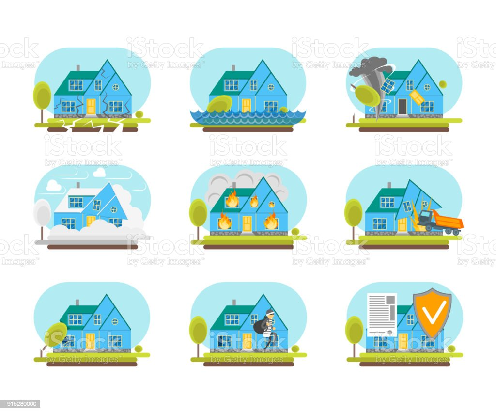 Cartoon Color House Insurance Service Icons Set Property Protection