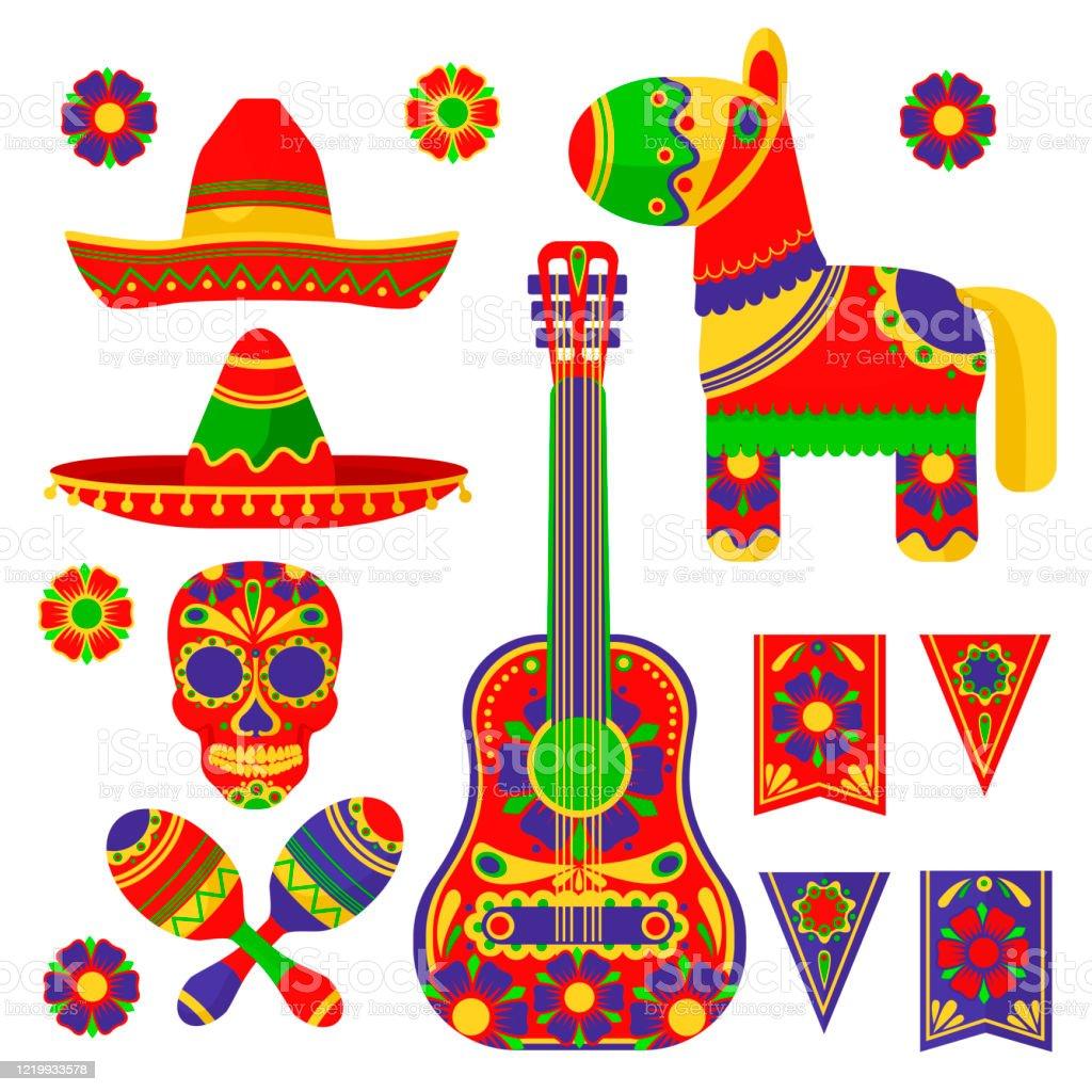 Cartoon Color Mexican Fiesta Icon Set Vector Stock Illustration Download Image Now Istock