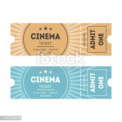 Cartoon Color Mockup Template Tickets Set Concept to Access in Cinema Element Flat Design Style. Vector illustration