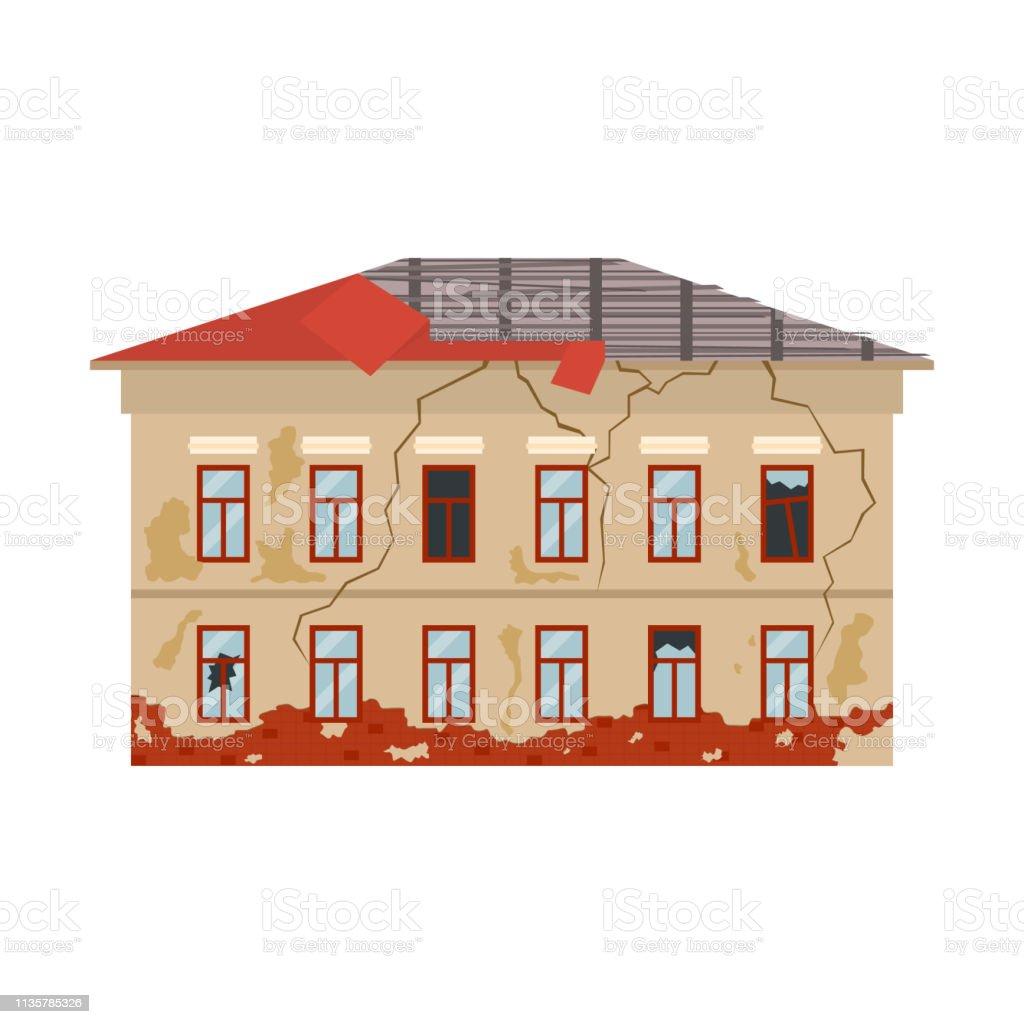 Couleur de dessin animé vieille maison sur un blanc vecteur couleur de dessin animé vieille