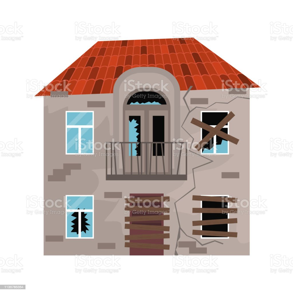 Maison En Ruine Dessin couleur de dessin animé vieille maison sur un blanc vecteur