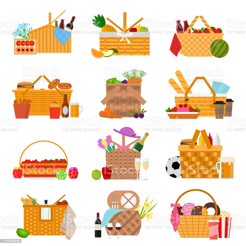 Cartoon Color Picnic Baskets Icon Set Vector Stock Illustration Download Image Now Istock