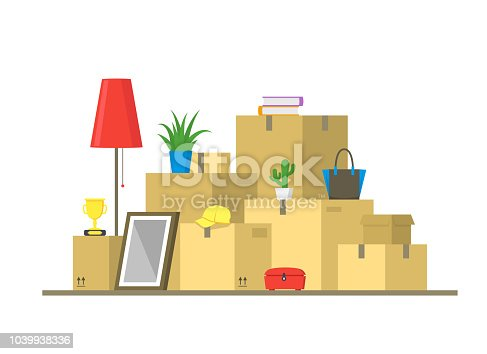 Cartoon Color Pile Boxes Moving Concept Delivery and Transportation Service Elements Flat Design Style. Vector illustration of Storage