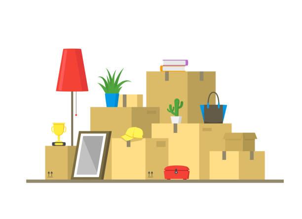ilustrações, clipart, desenhos animados e ícones de desenhos animados cor pilha caixas conceito em movimento. vector - casa nova