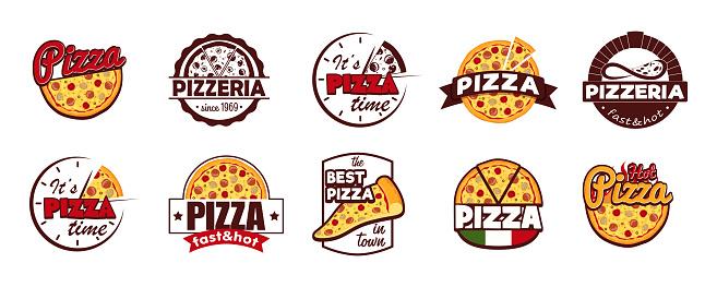 Cartoon Color Pizzeria Label Badge Sign Set Concept Flat Design Style. Vector