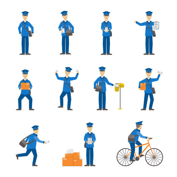 cartoon color postman male characters set. vector - postal worker stock illustrations