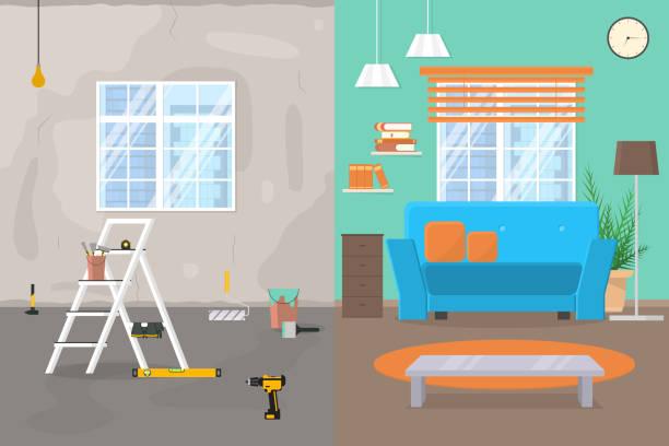 ilustrações de stock, clip art, desenhos animados e ícones de cartoon color room before and after repair concept. vector - obras em casa janelas