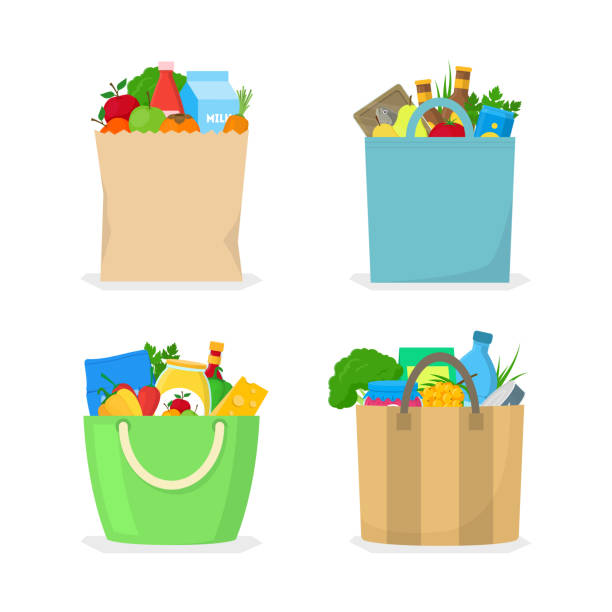 Cartoon Color Shopping Bag with Food Icon Set. Vector Cartoon Color Shopping Bag with Food Icon Set Include of Vegetable, Fruit, Milk Bottle and Fish. Vector illustration of Icons grocery store stock illustrations