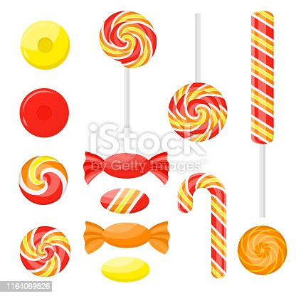Cartoon Color Sweetmeats Set Different Types Icon Set Include of Twisted Stick Lollipop and Circle Bonbon. Vector illustration of Icons
