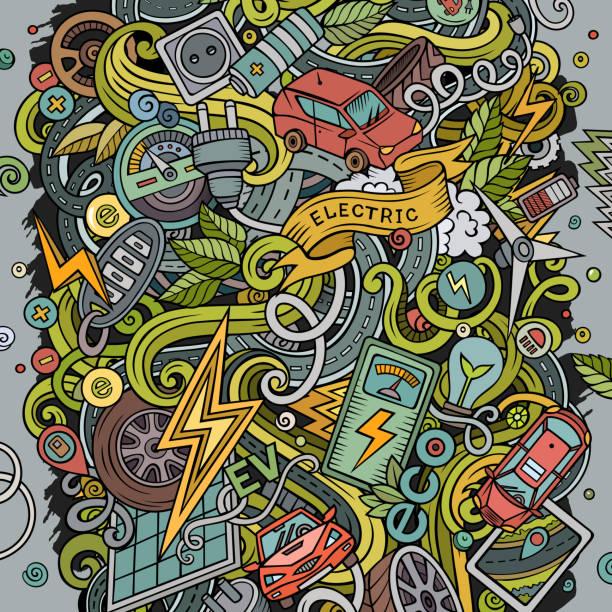 Cartoon Farbe Vektor Doodles Elektroautos Illustration – Vektorgrafik