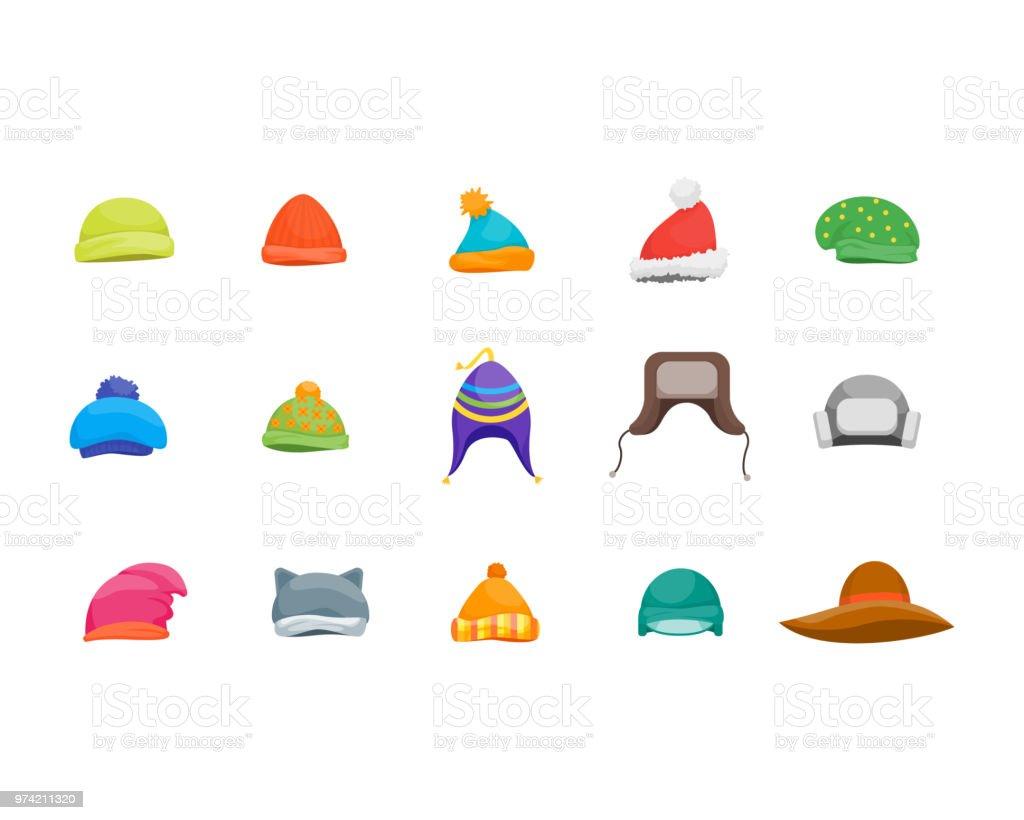 Ilustración de Dibujos Animados Color Invierno Sombreros Y Bufandas ...