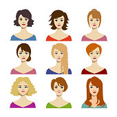 Cartoon Color Woman Hairstyles Icons Set. Vector