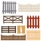 Cartoon Color Wooden Fence Set. Vector