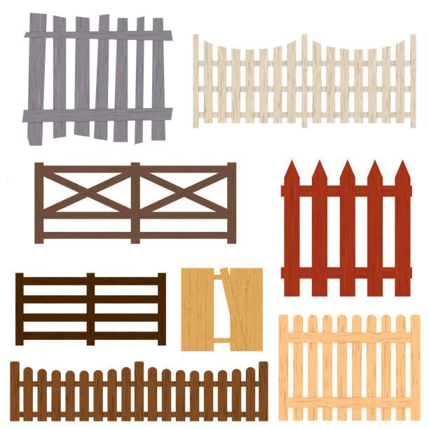 stockillustraties, clipart, cartoons en iconen met cartoon kleurset houten hek. vector - fence