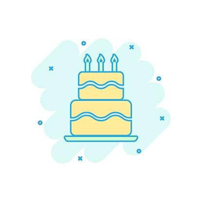 Cartoon Colored Birthday Cake Icon In Comic Style Fresh Pie Muffin